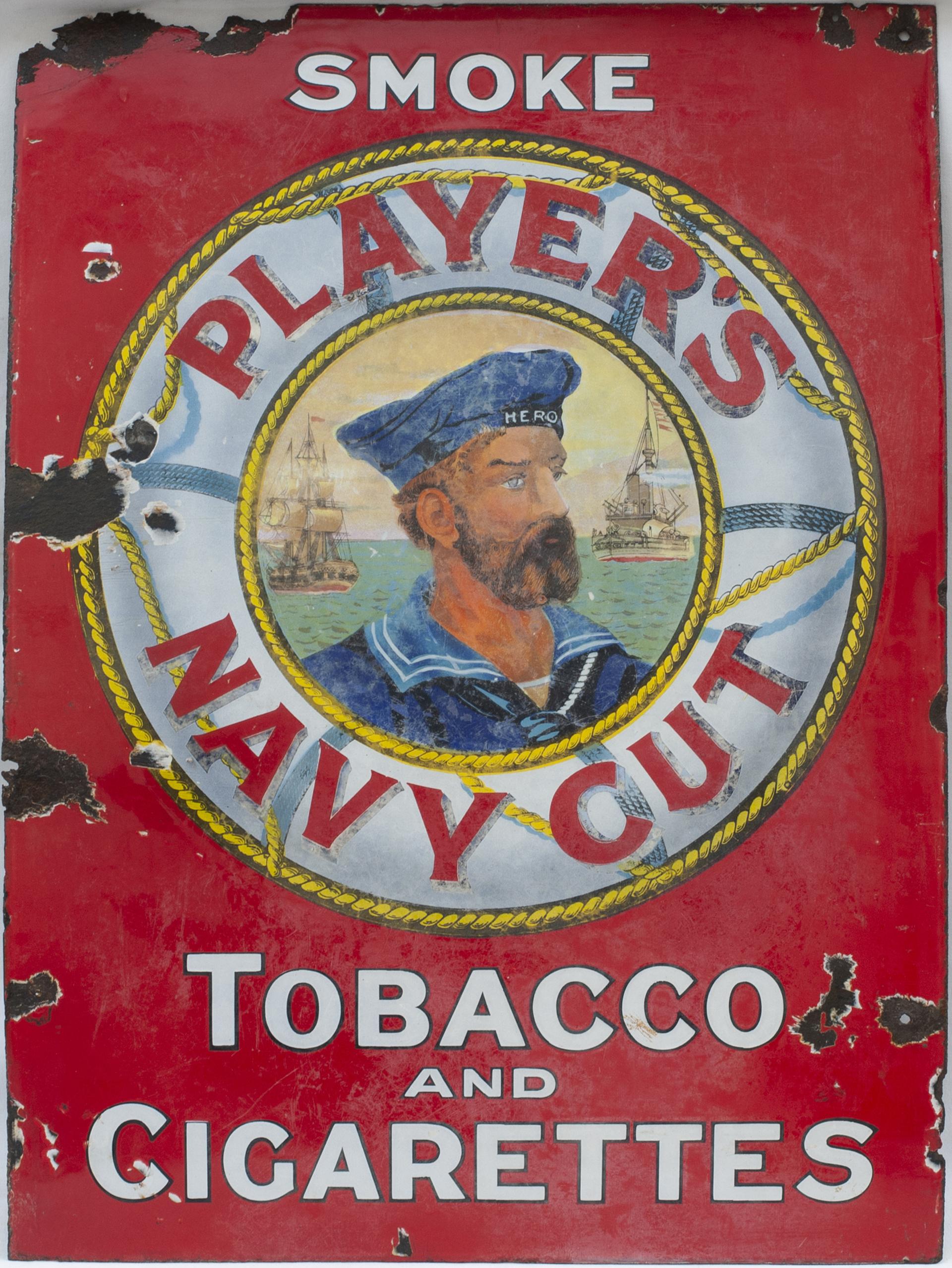 Advertising Enamel Sign SMOKE PLAYERS NAVY CUT