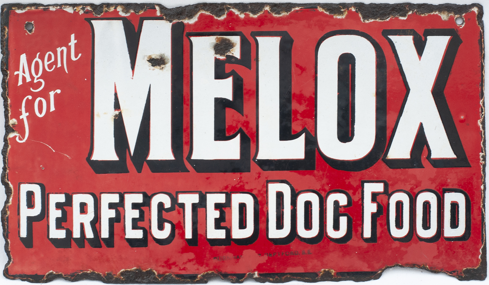 Advertising Enamel Sign AGENT FOR MELOX PERFECTED