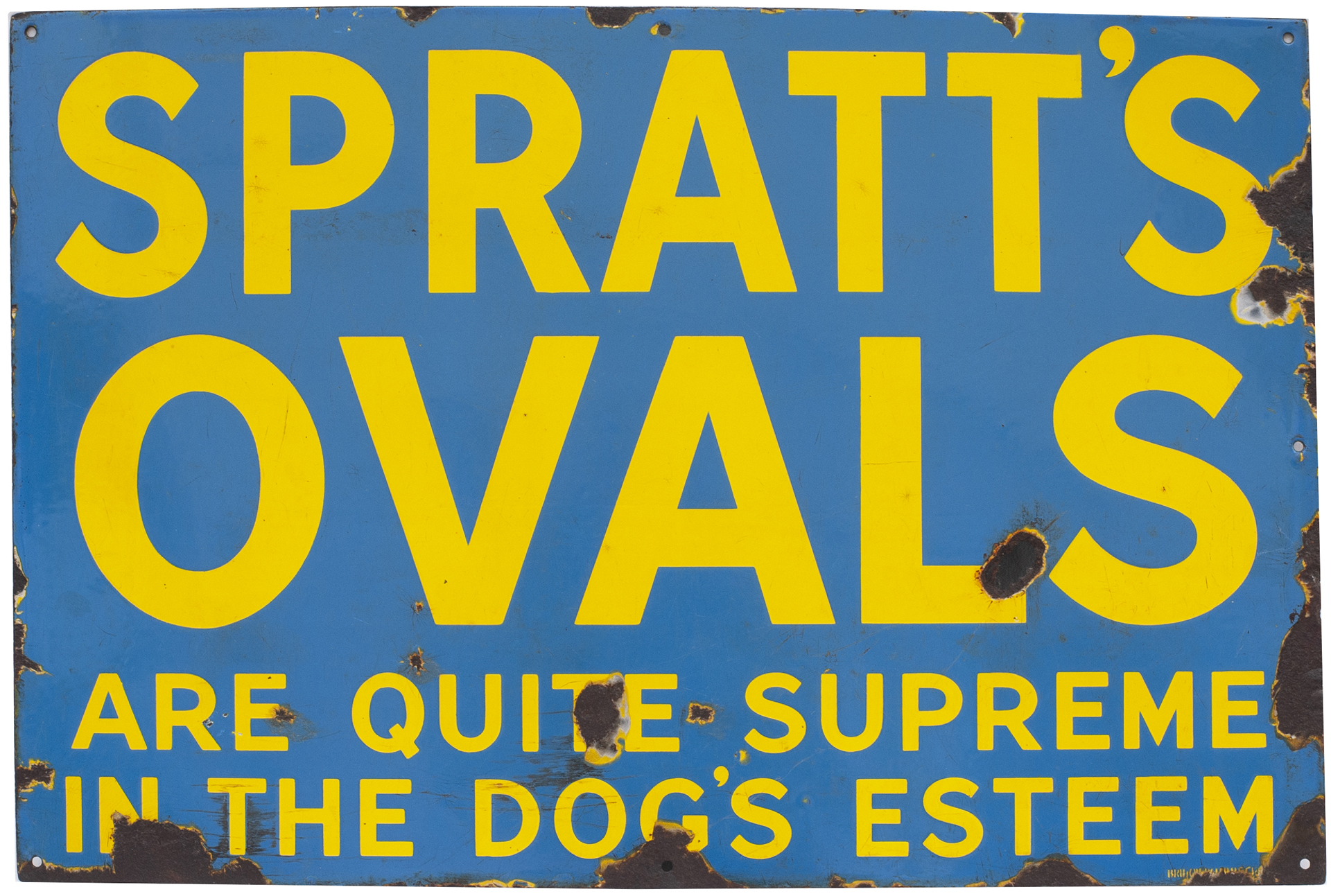 Advertising Enamel Sign SPRATTS OVALS ARE QUITE