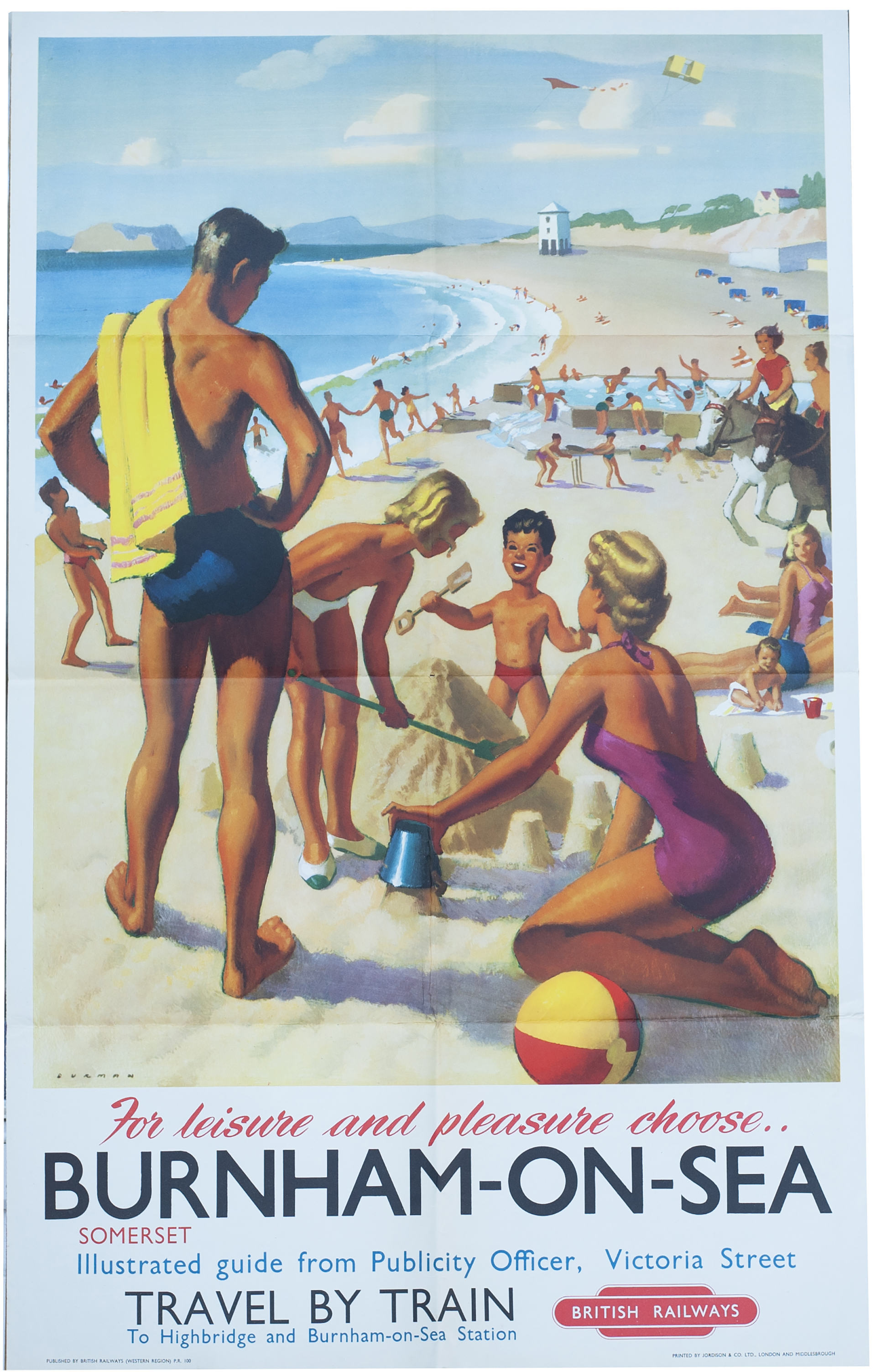 Poster BR(W) BURNHAM-ON-SEA SOMERSET By Alan