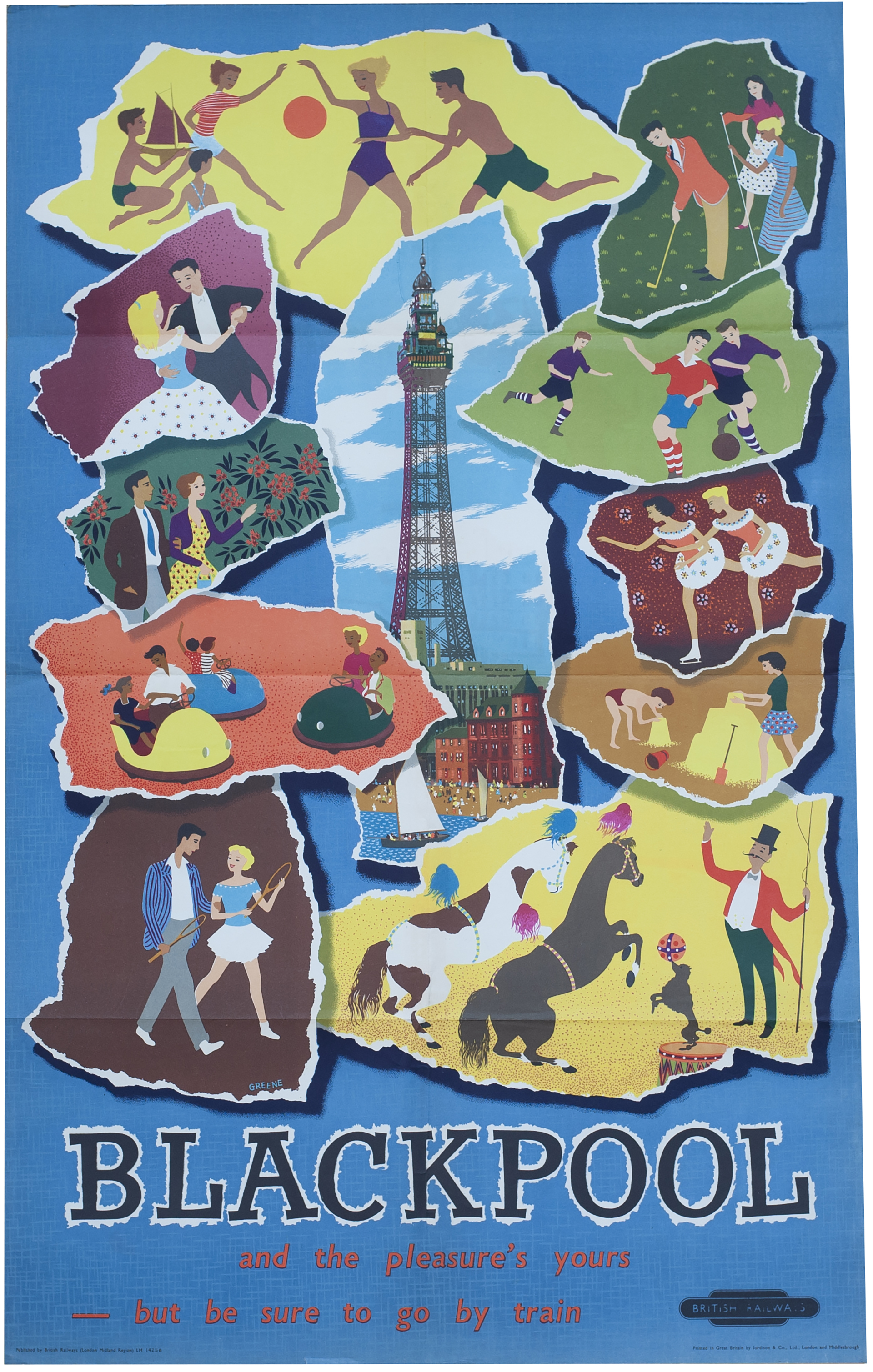 Poster BR(M) BLACKPOOL By Greene Issued In 1956.