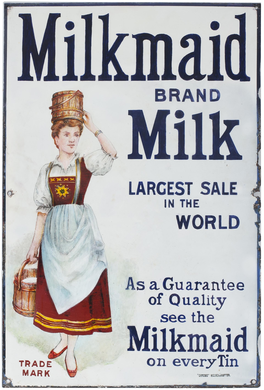 Advertising Enamel Sign MILKMAID BRAND MILK