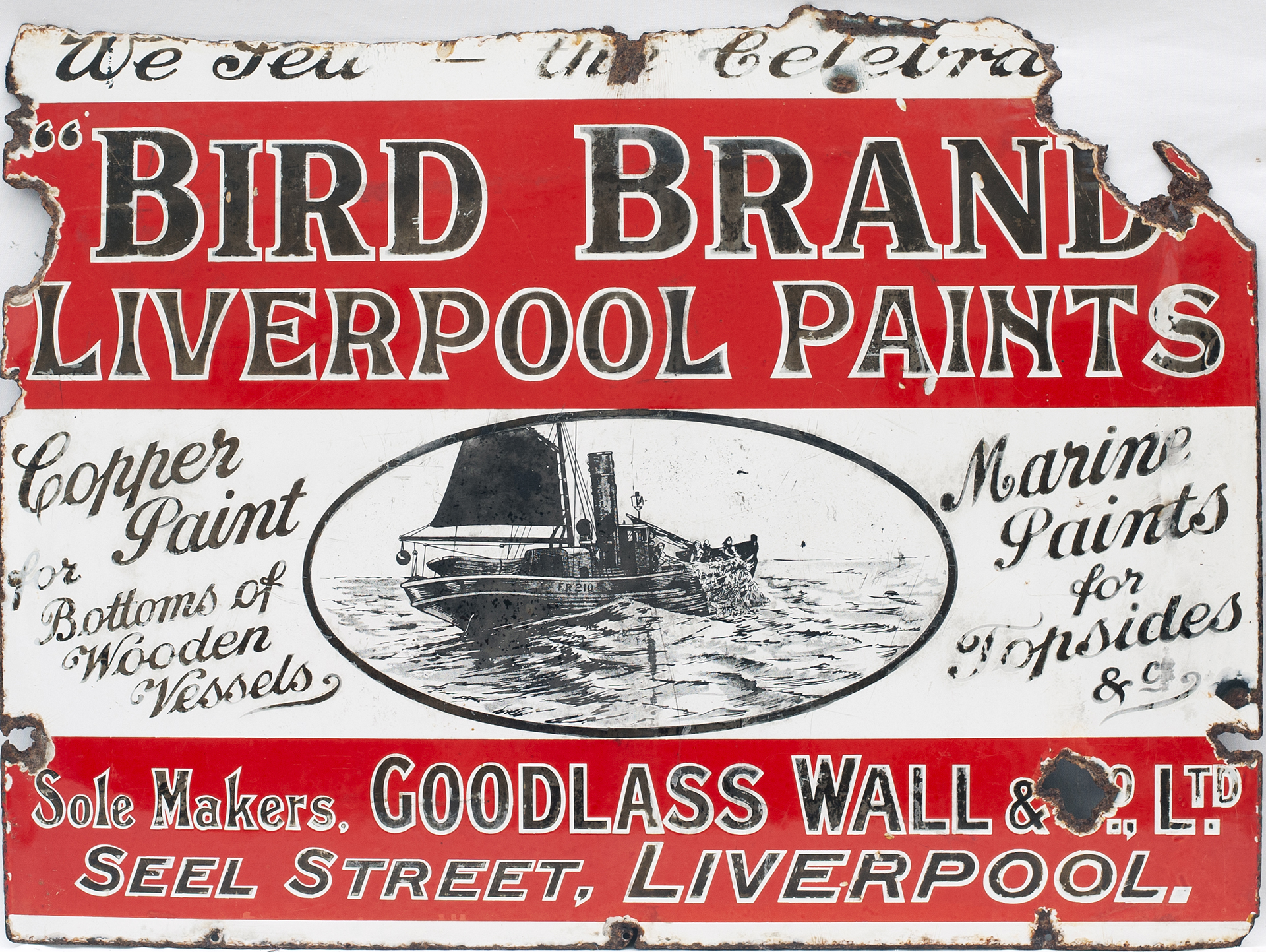 Advertising Enamel Sign WE SELL THE CELEBRATED