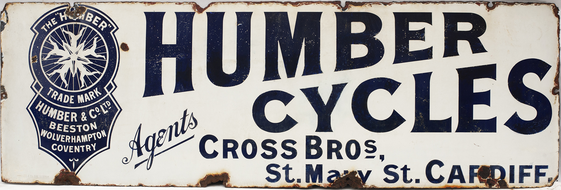 Advertising Enamel Sign HUMBER CYCLES AGENTS CROSS