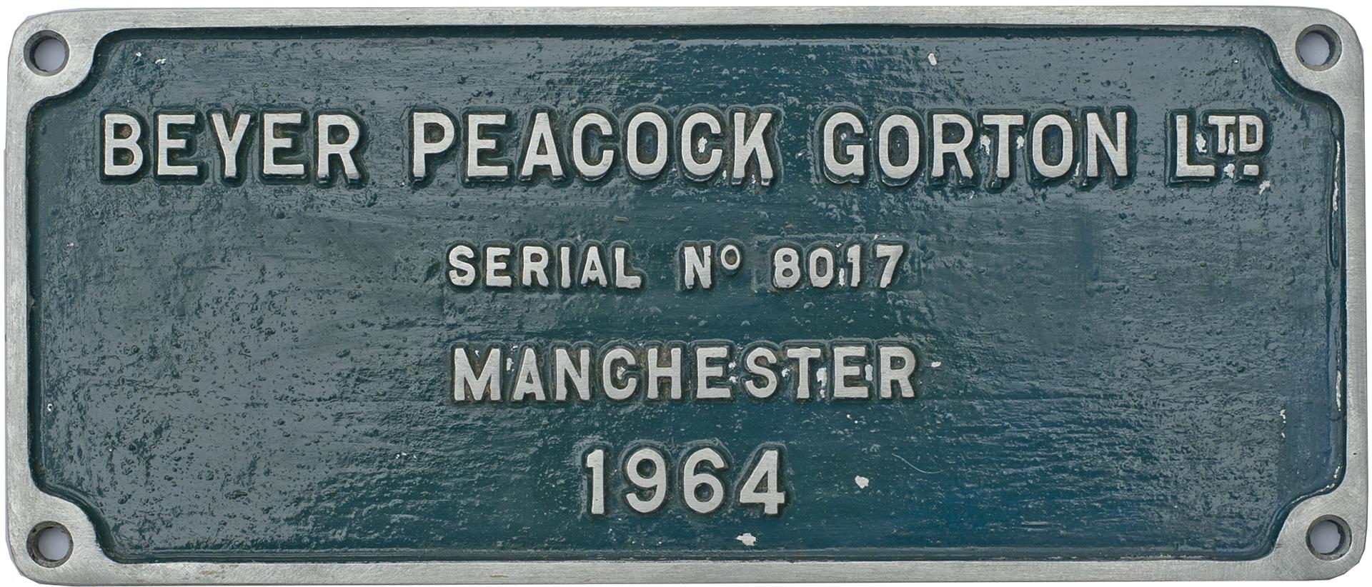 Worksplate BEYER PEACOCK GORTON LTD MANCHESTER
