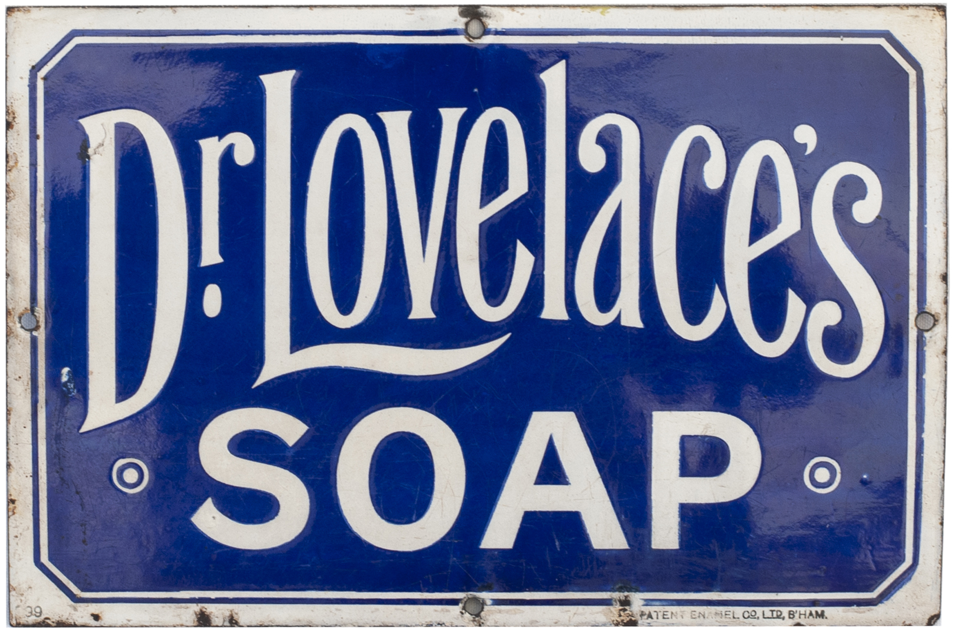 Advertising Enamel Sign DR LOVELACE'S SOAP. In