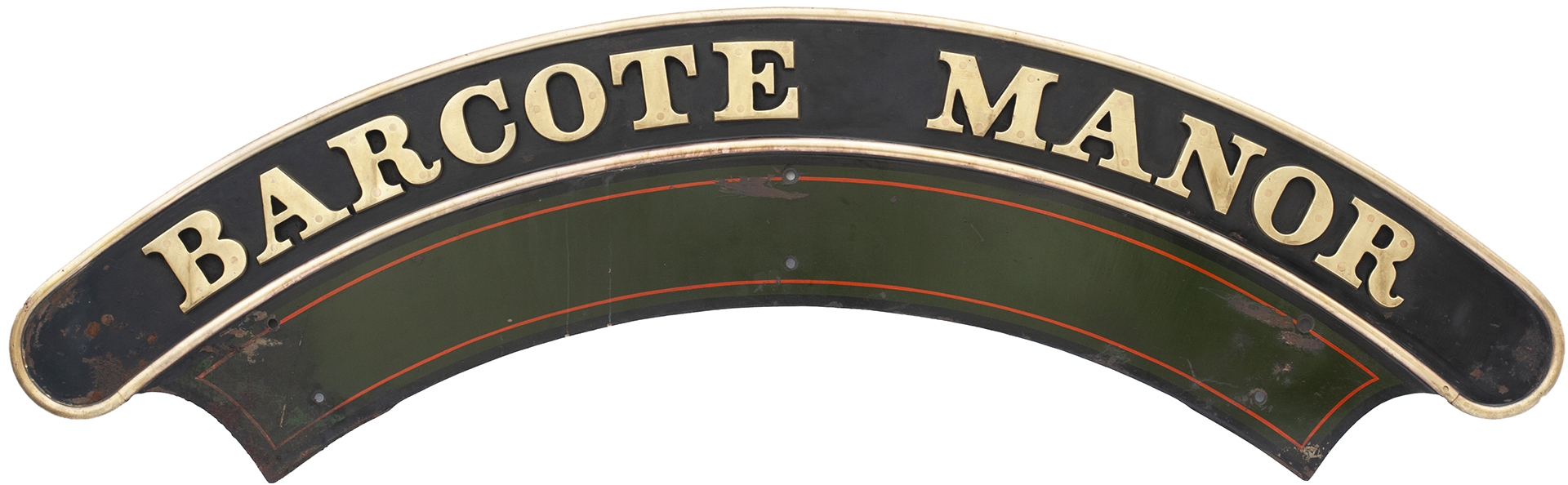 Nameplate BARCOTE MANOR Ex GWR Collett Manor Class