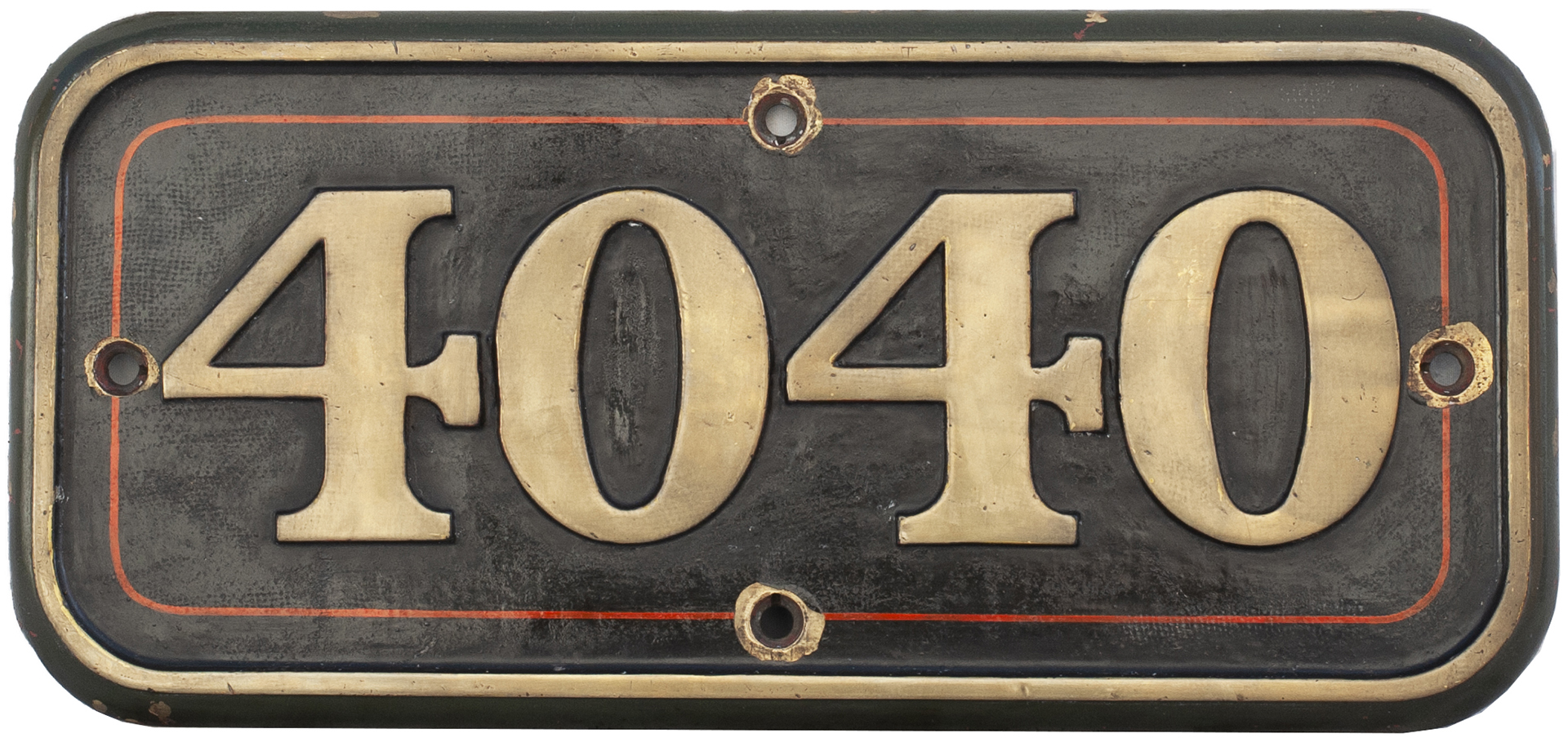 GWR Brass Cabside Numberplate 4040 Ex Churchward