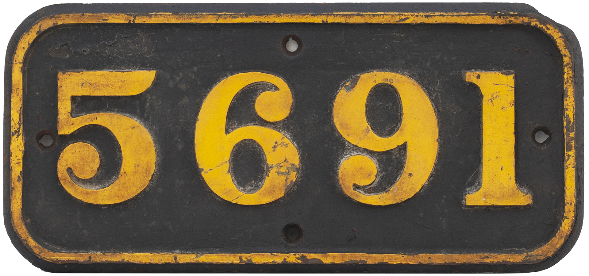 GWR Cast Iron Cabside Numberplate 5691 Ex Collett