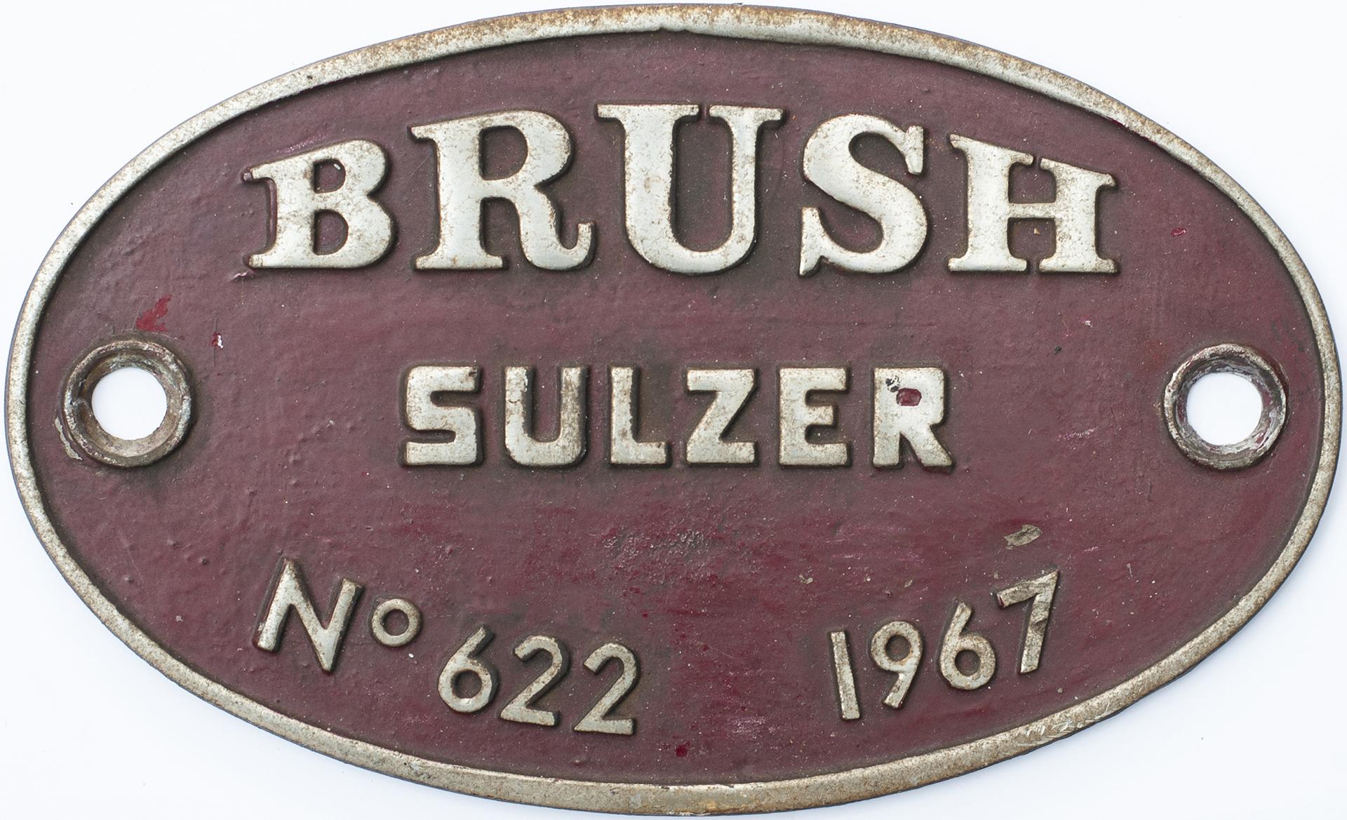Worksplate BRUSH SULZER No 622 1967. These Were