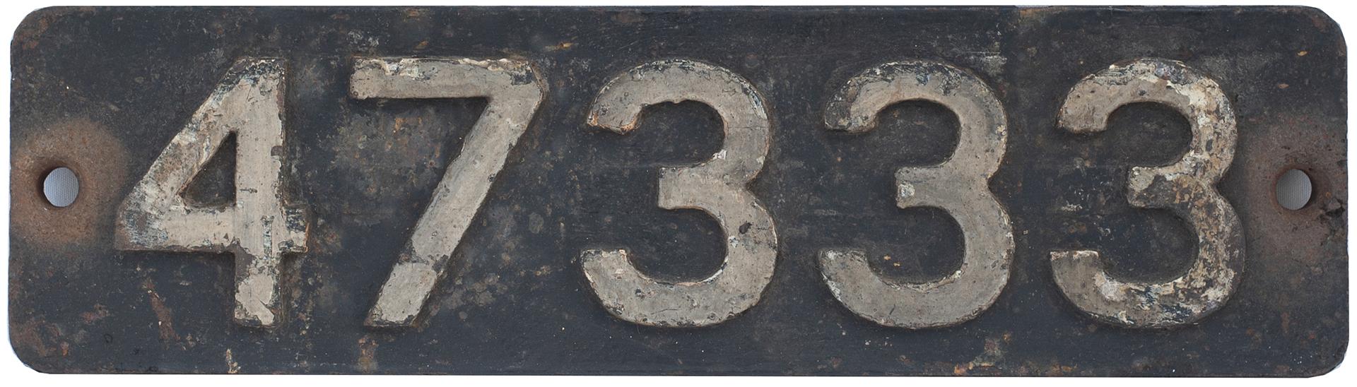 Smokebox Numberplate 47333. Ex LMS Fowler 3f