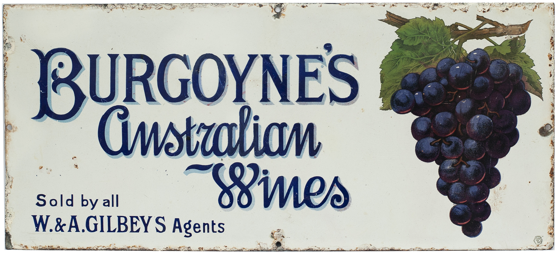 Advertising Enamel Sign BURGOYNES AUSTRALIAN WINES