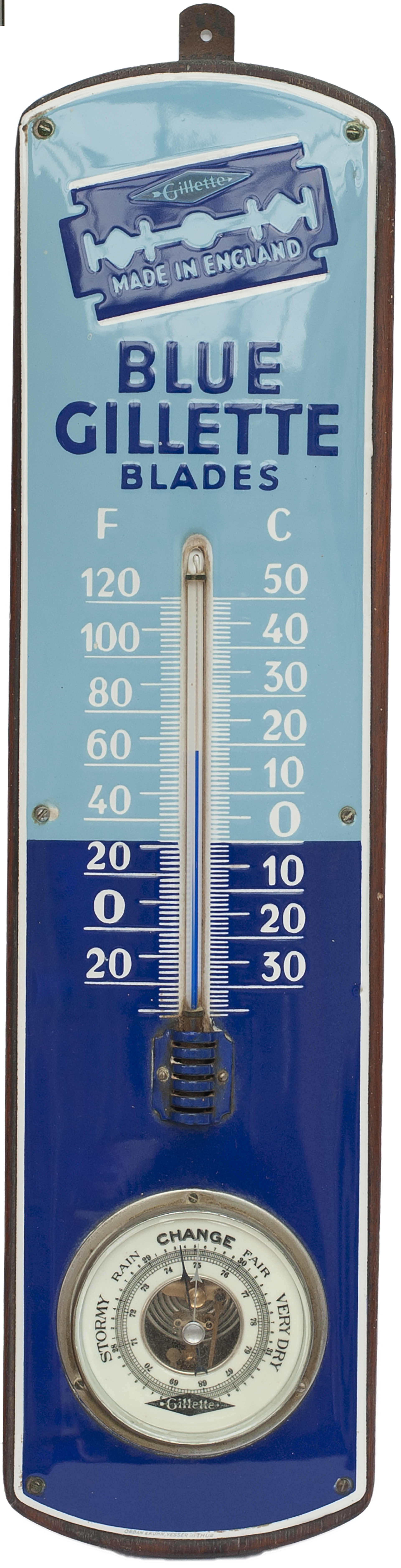 Advertising Enamel Thermometer And Barometer BLUE
