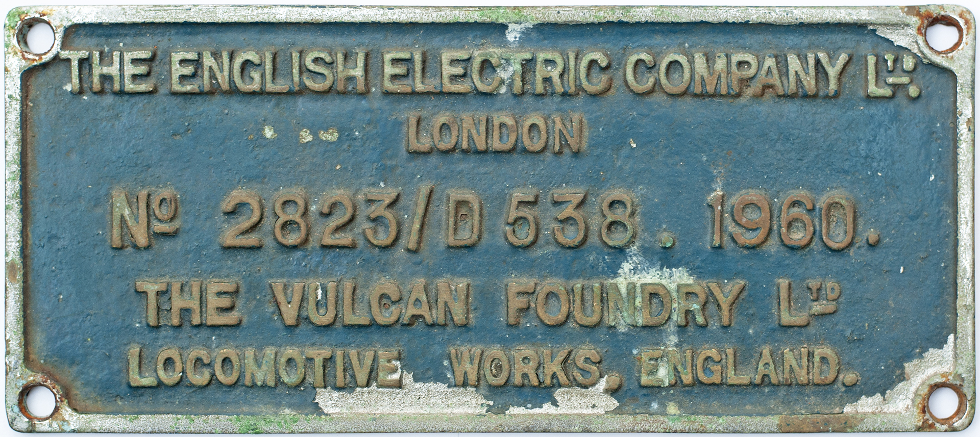 Worksplate THE ENGLISH ELECTRIC COMPANY LTD LONDON