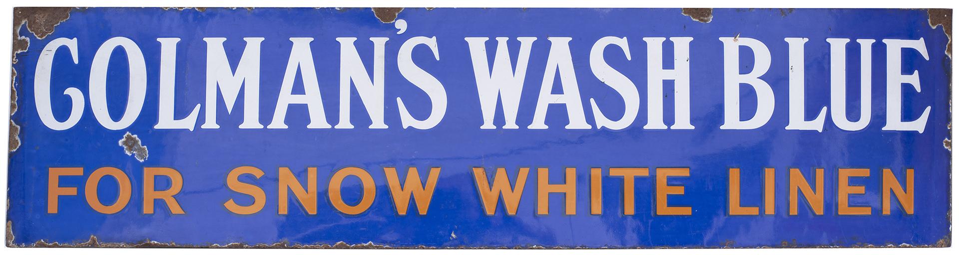 Advertising Enamel Sign COLMAN'S WASH BLUE FOR
