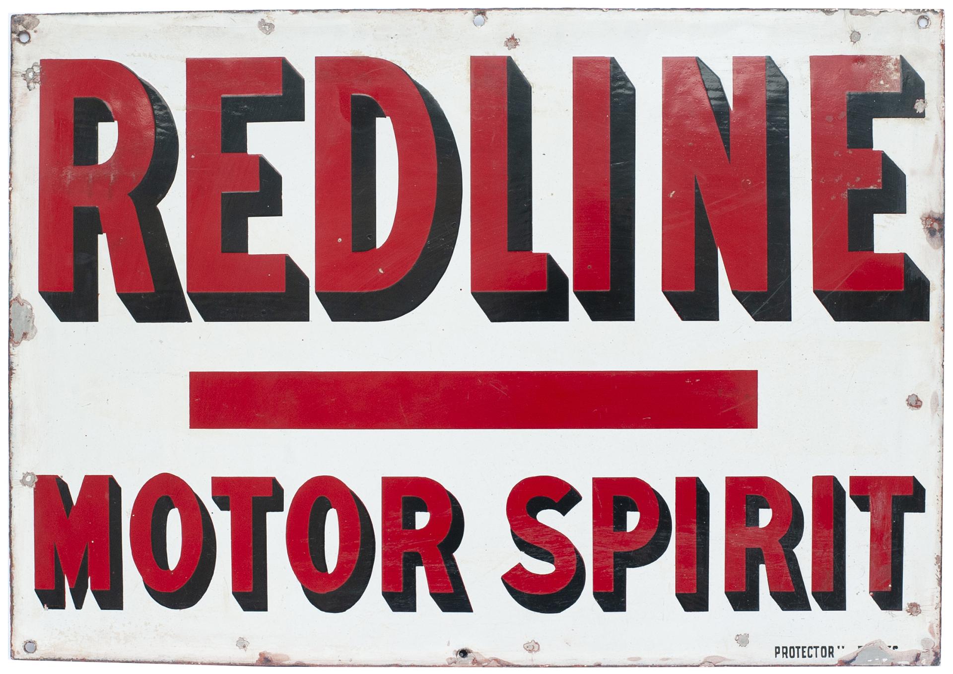 Advertising Enamel Sign REDLINE MOTOR SPIRIT. In