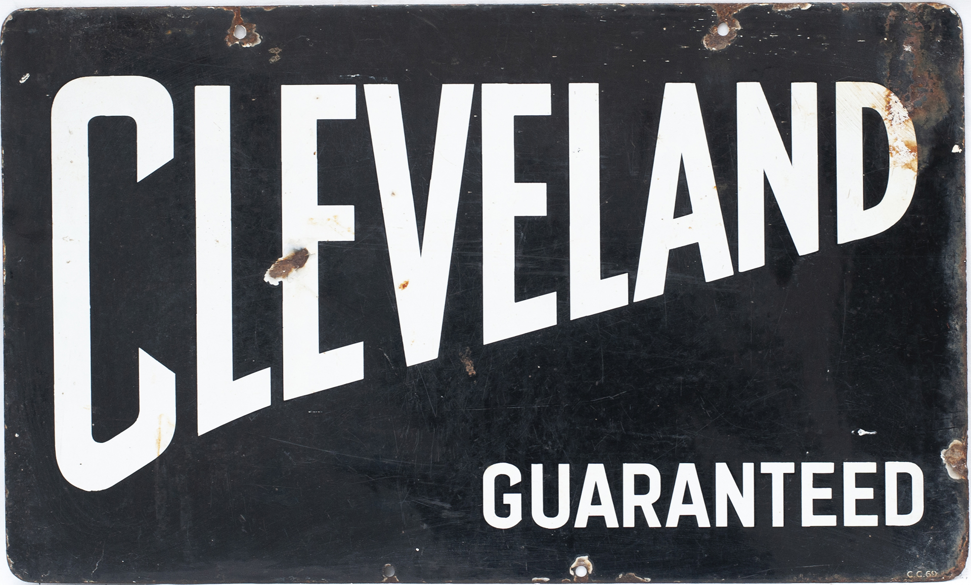 Advertising Enamel Motoring Sign CLEVELAND