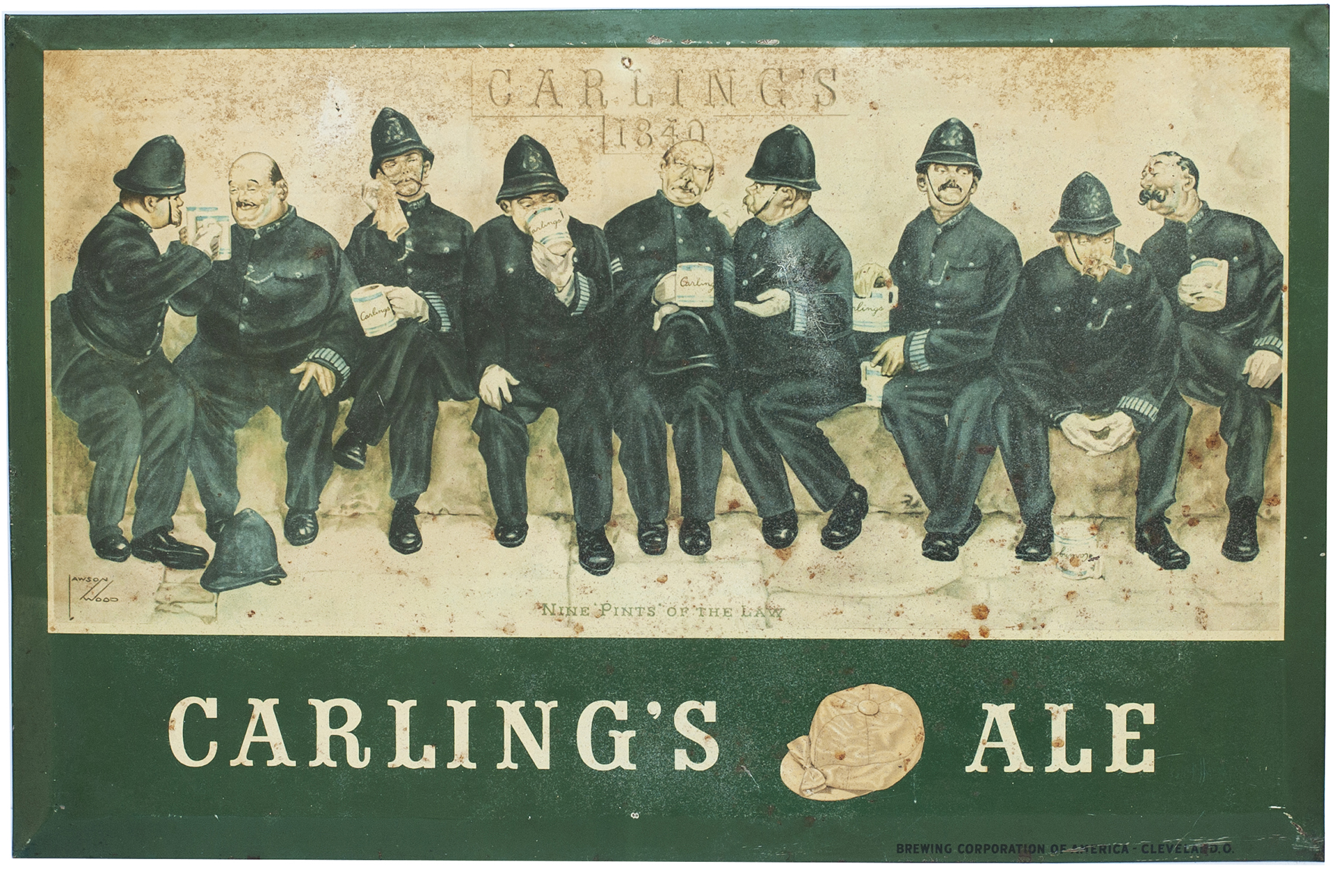Advertising Lithographed Sign CARLING'S ALE 1840