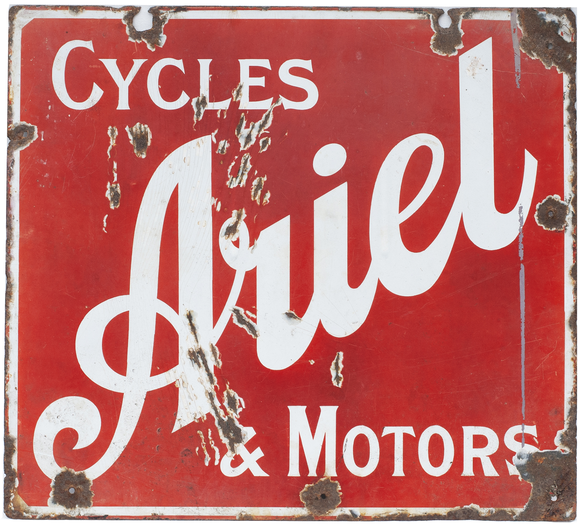 Advertising Enamel Sign ARIEL CYCLES & MOTORS. In