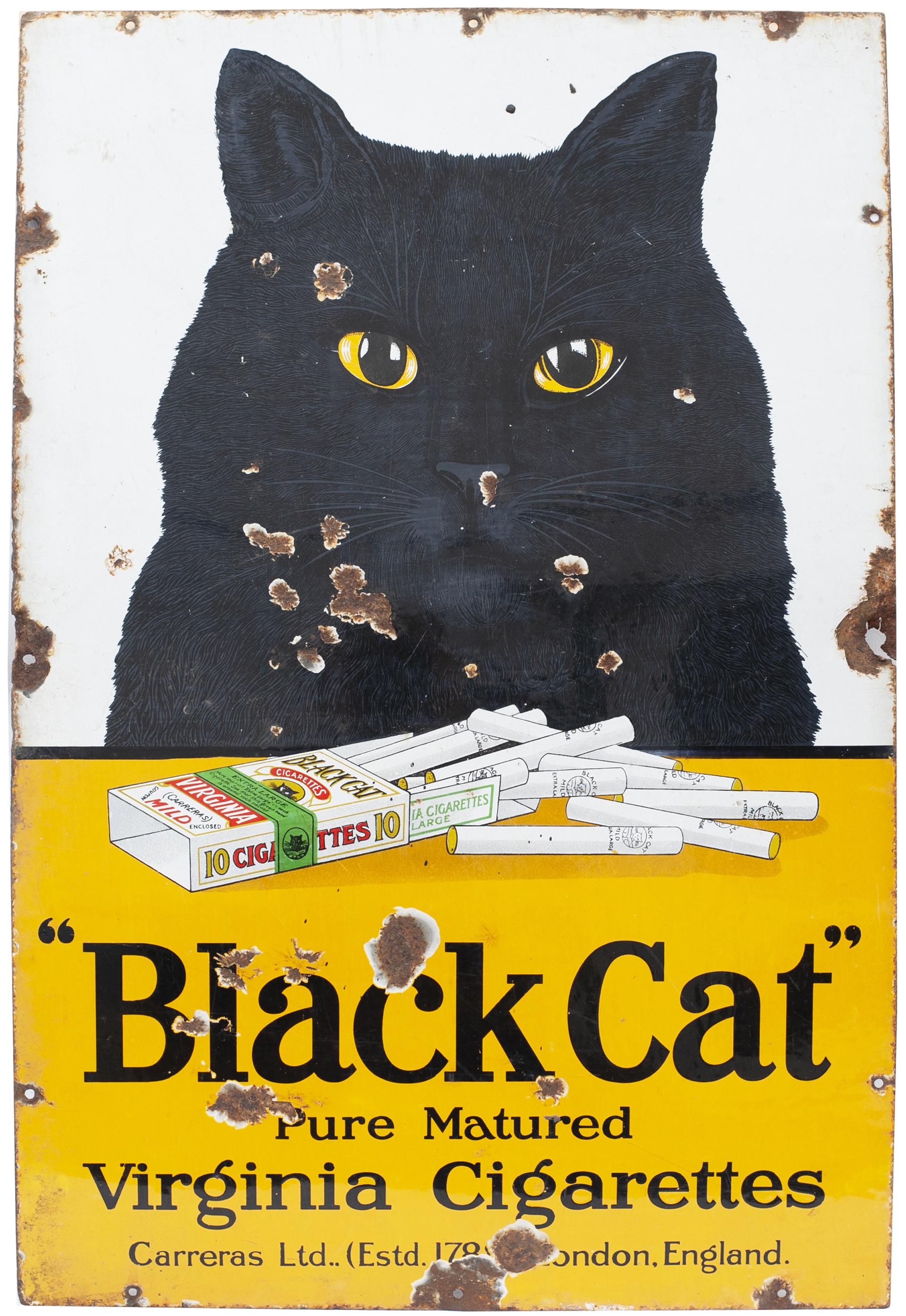 Advertising Enamel Sign BLACK CAT PURE MATURED