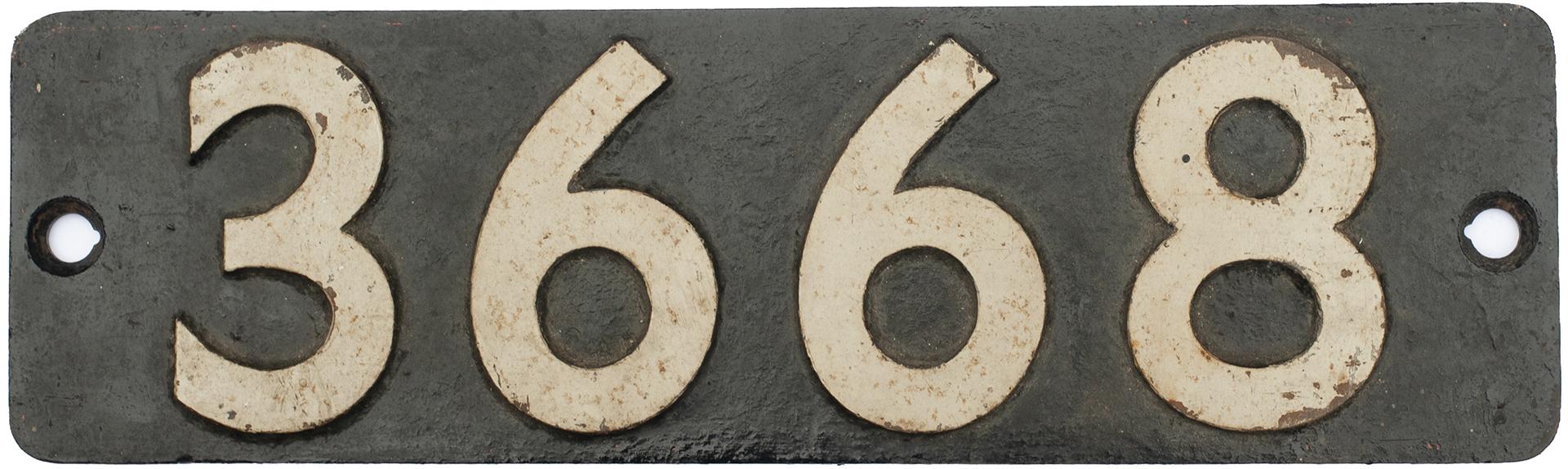 Smokebox Numberplate 3668 Ex GWR Collett 0-6-0 PT