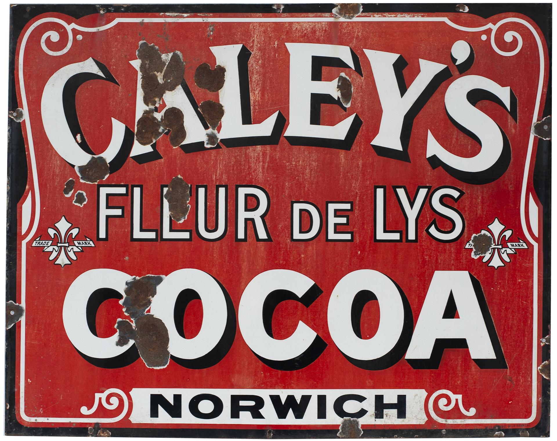Advertising Enamel Sign CALEY'S FLEUR DE LYS COCOA