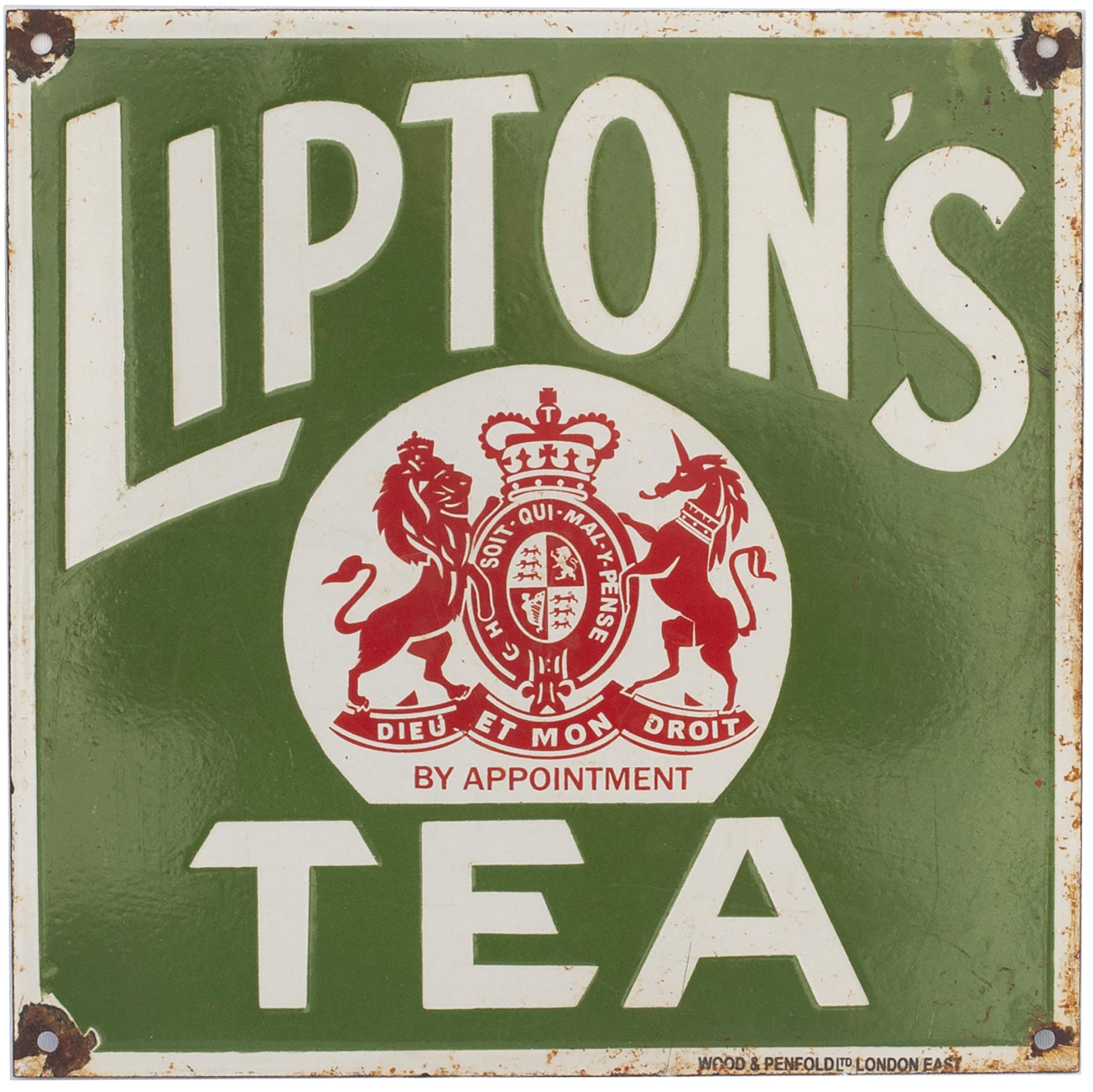 Advertising Enamel Sign LIPTON'S TEA. In Very Good