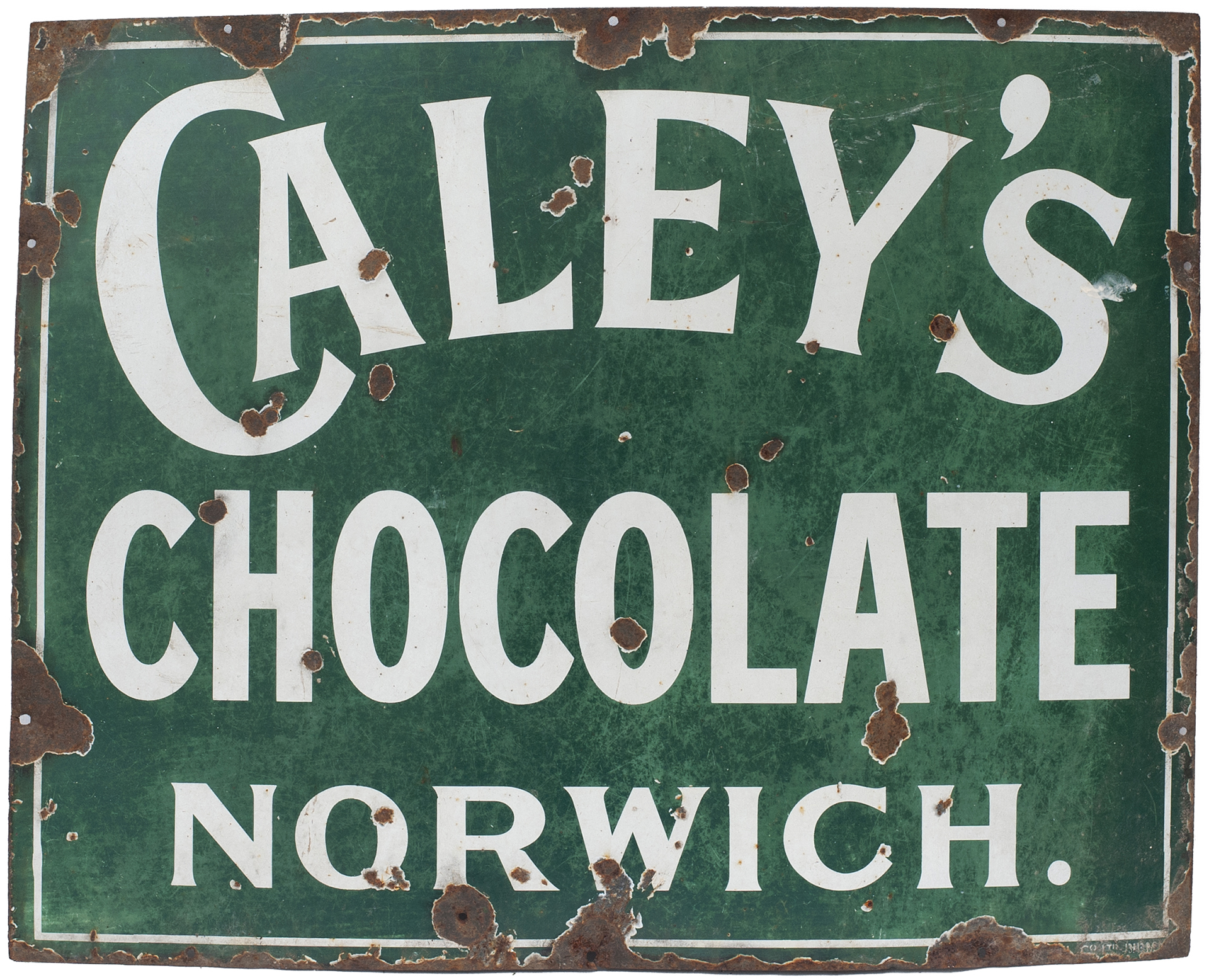 Advertising Enamel Sign CALEY'S CHOCOLATE NORWICH.