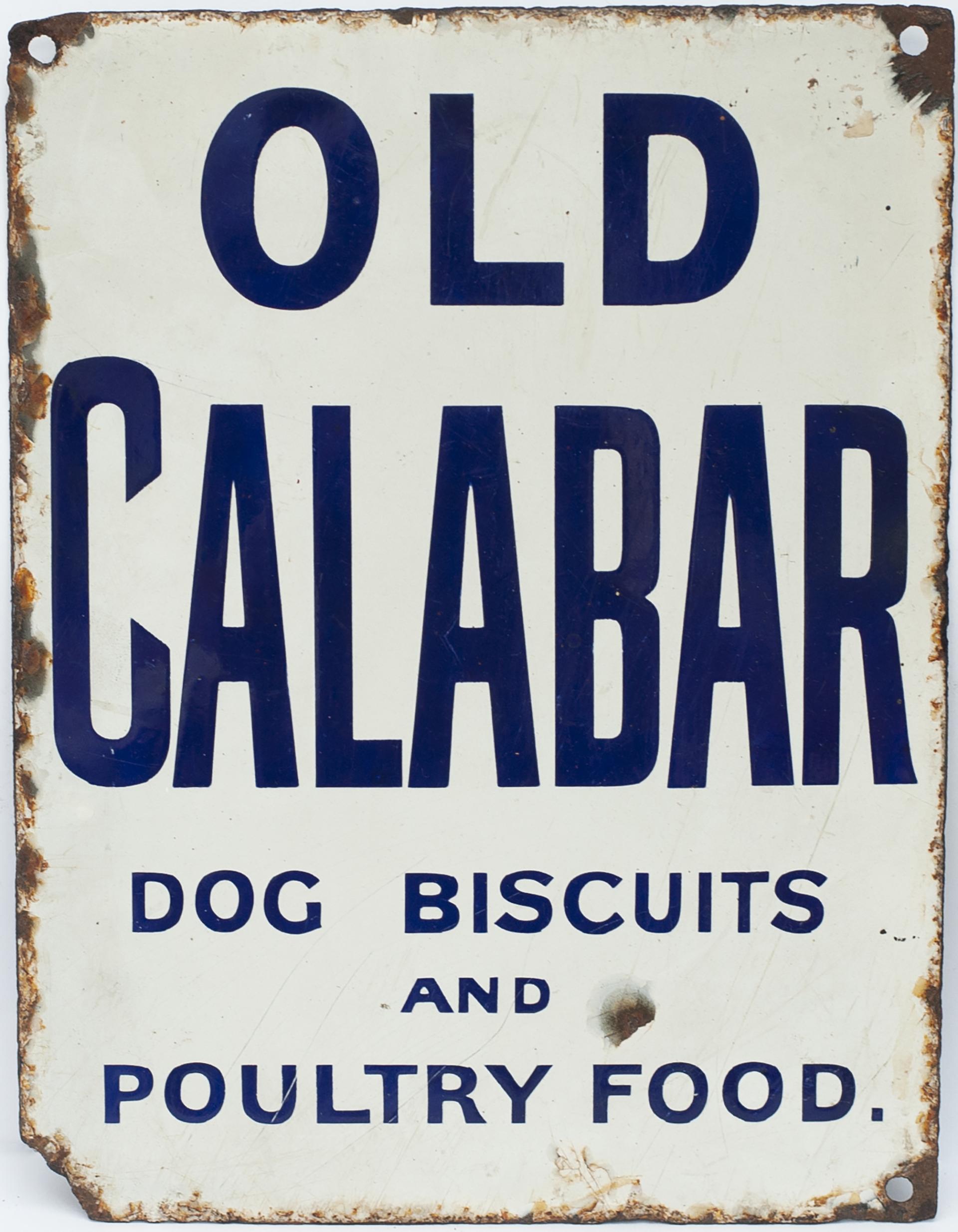 Advertising Enamel Sign OLD CALABAR DOG BISCUITS