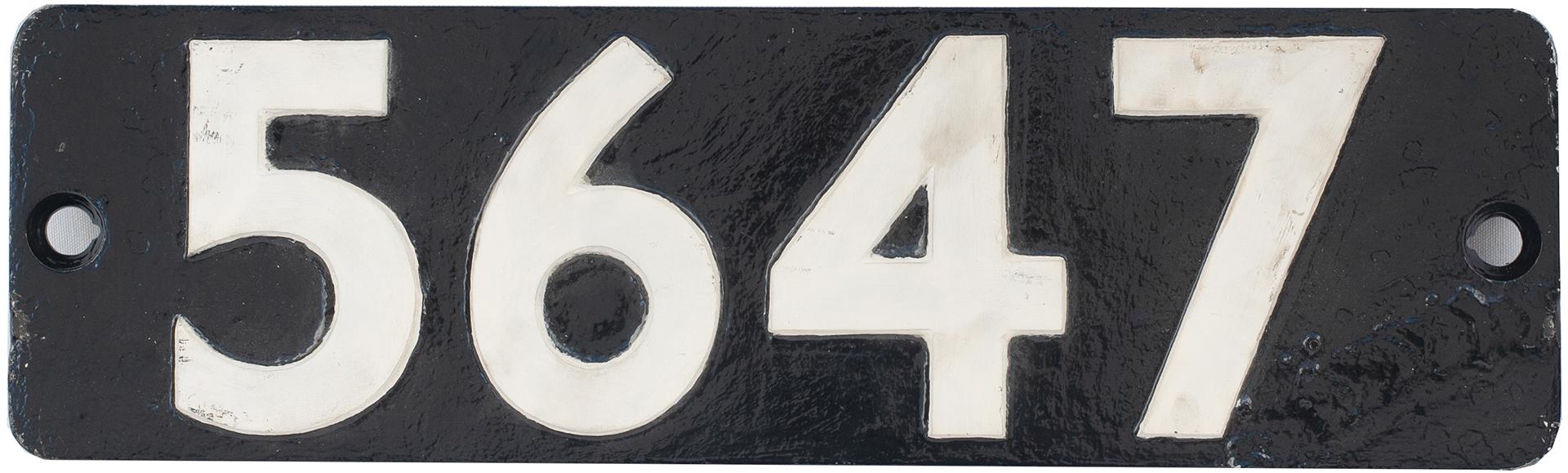 Smokebox Numberplate 5647 Ex GWR Collett 0-6-2 T