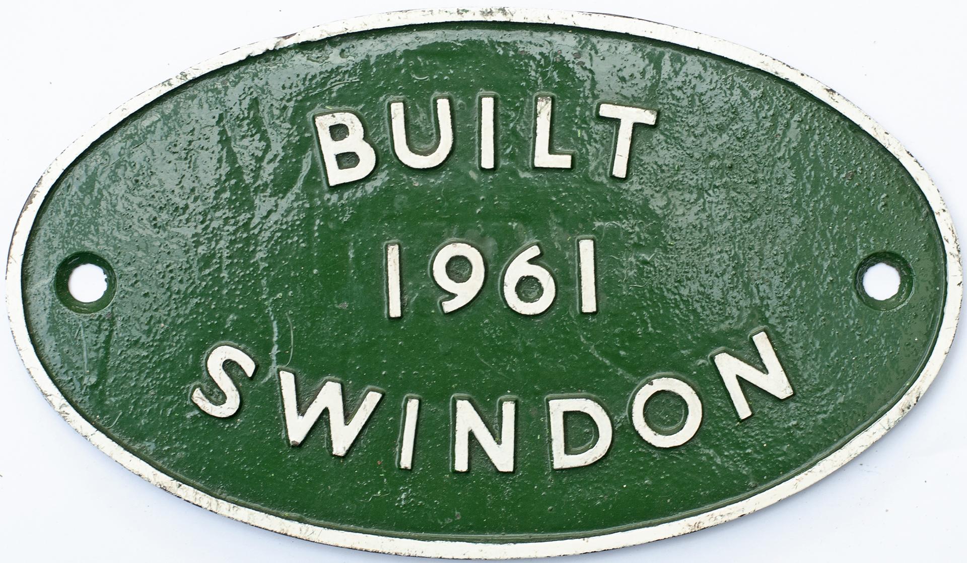 Worksplate BUILT 1961 SWINDON Ex BR Diesel Class