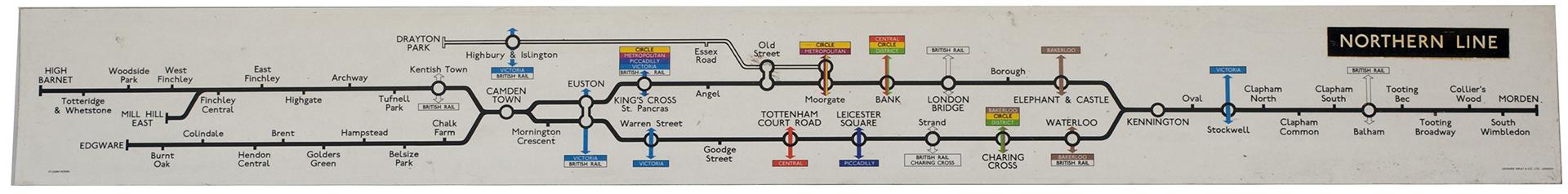 London Transport NORTHERN LINE Melamine Map, Circa