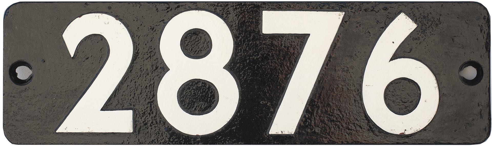 Smokebox Numberplate 2876 Ex Churchward 2-8-0