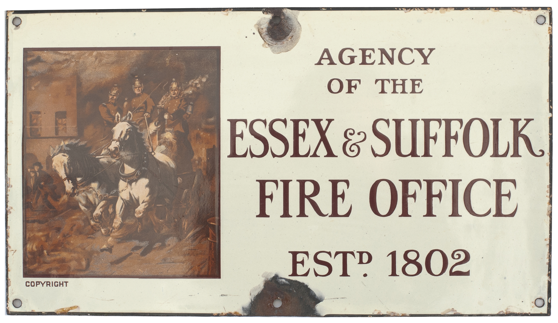 Advertising Enamel Sign AGENCY OF THE ESSEX &
