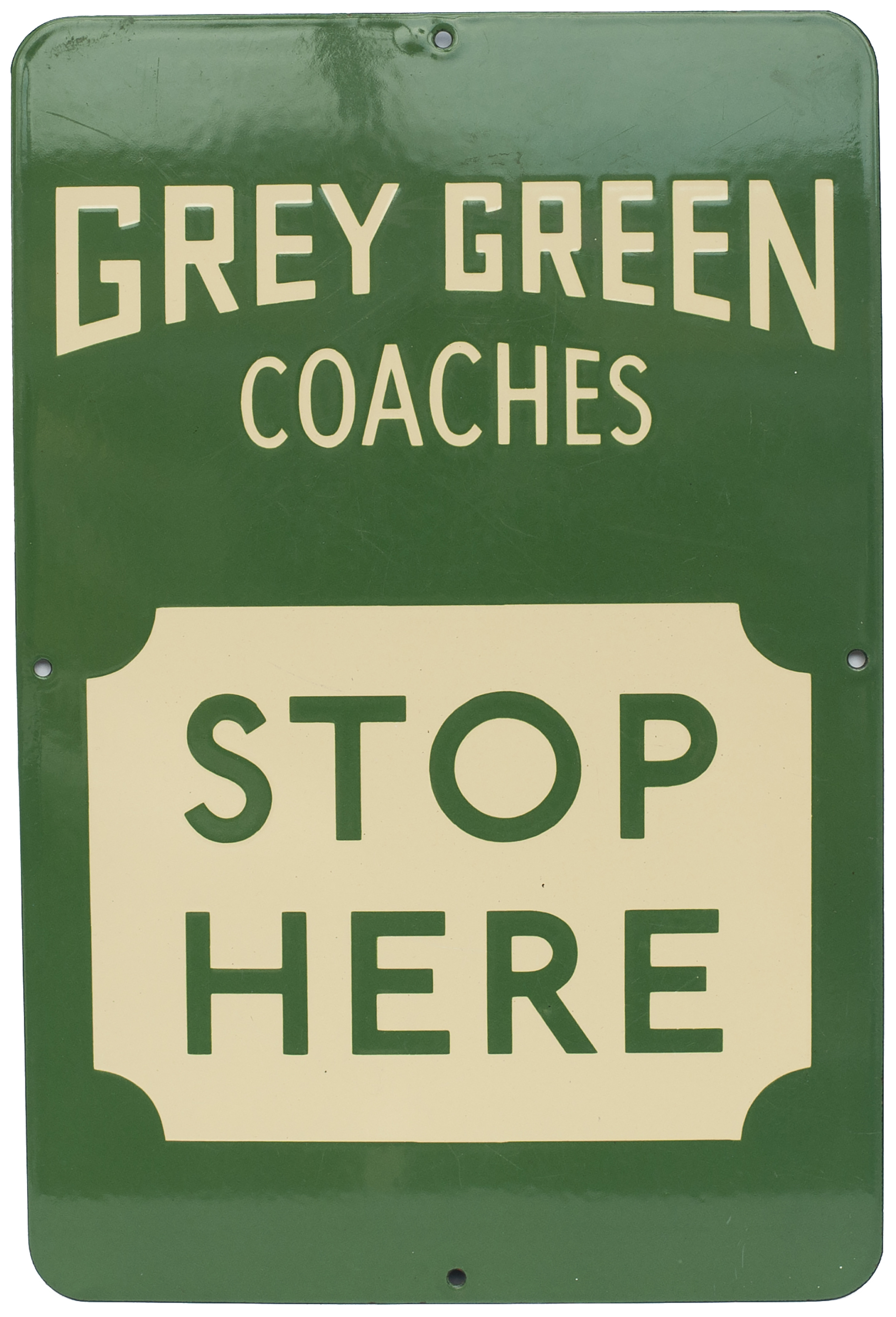Bus Motoring Enamel Sign GREY GREEN COACHES STOP