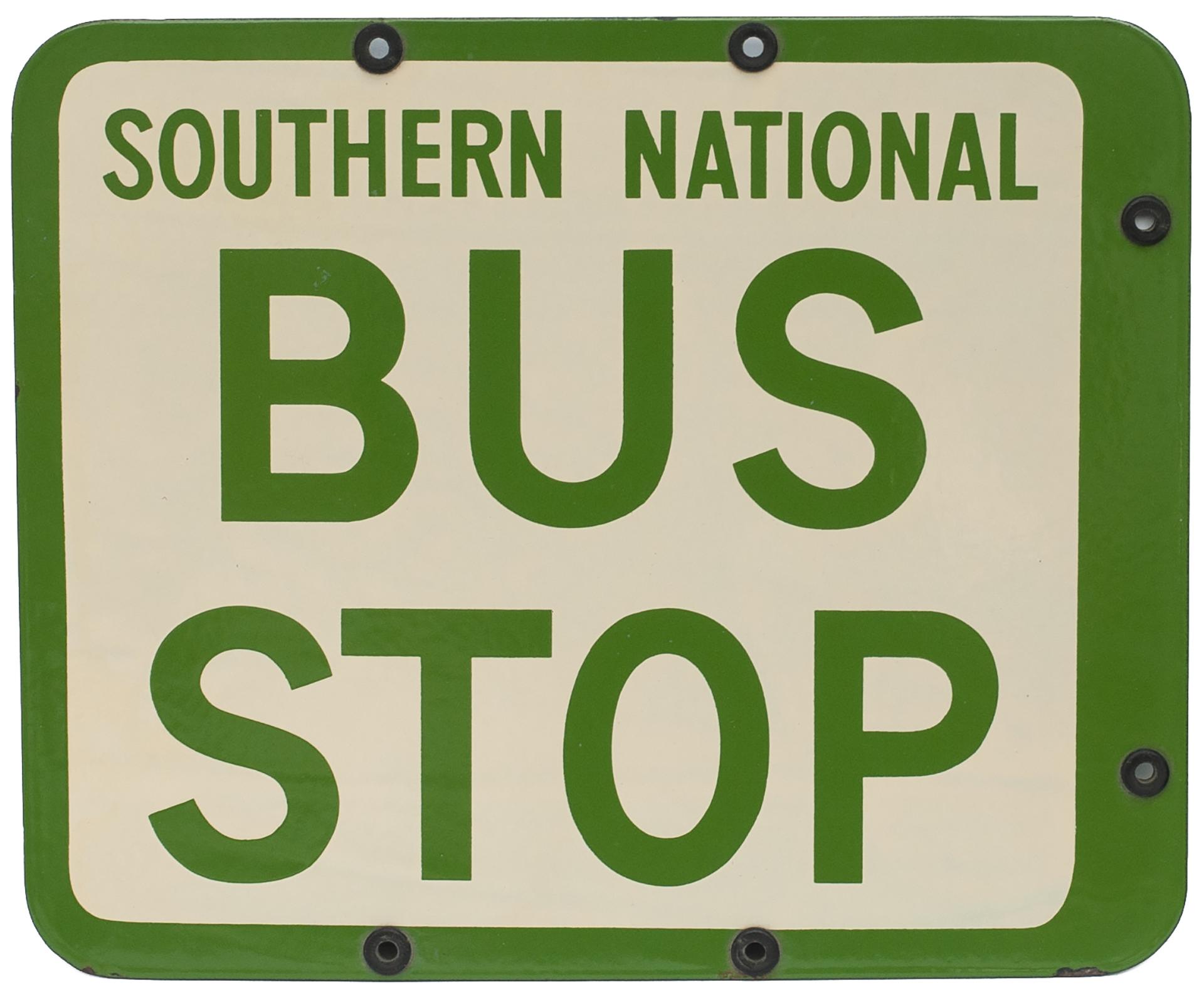 <P>Bus Motoring Enamel Sign SOUTHERN NATIONAL BUS