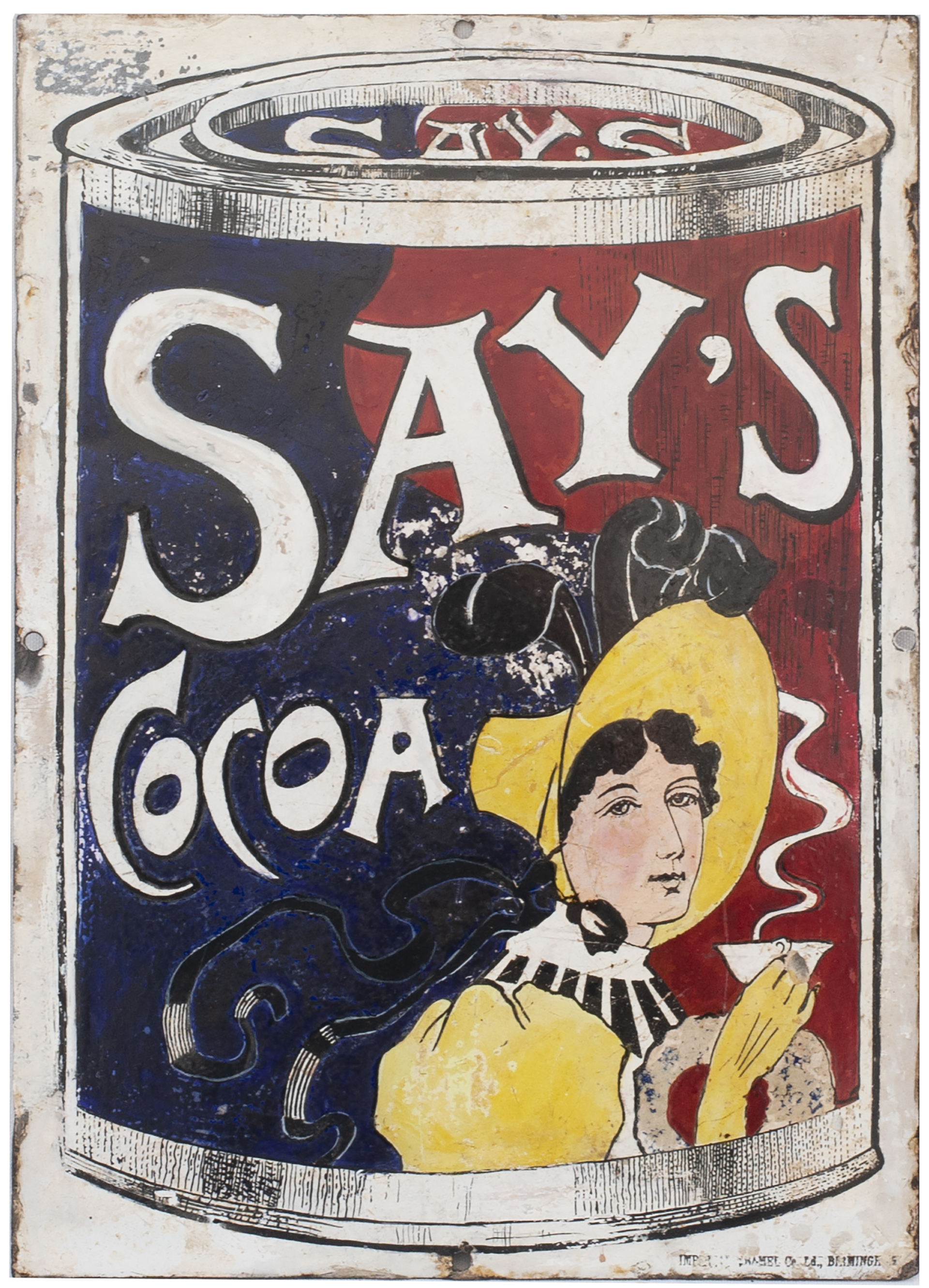 Advertising Enamel Sign SAY'S COCOA. In Good