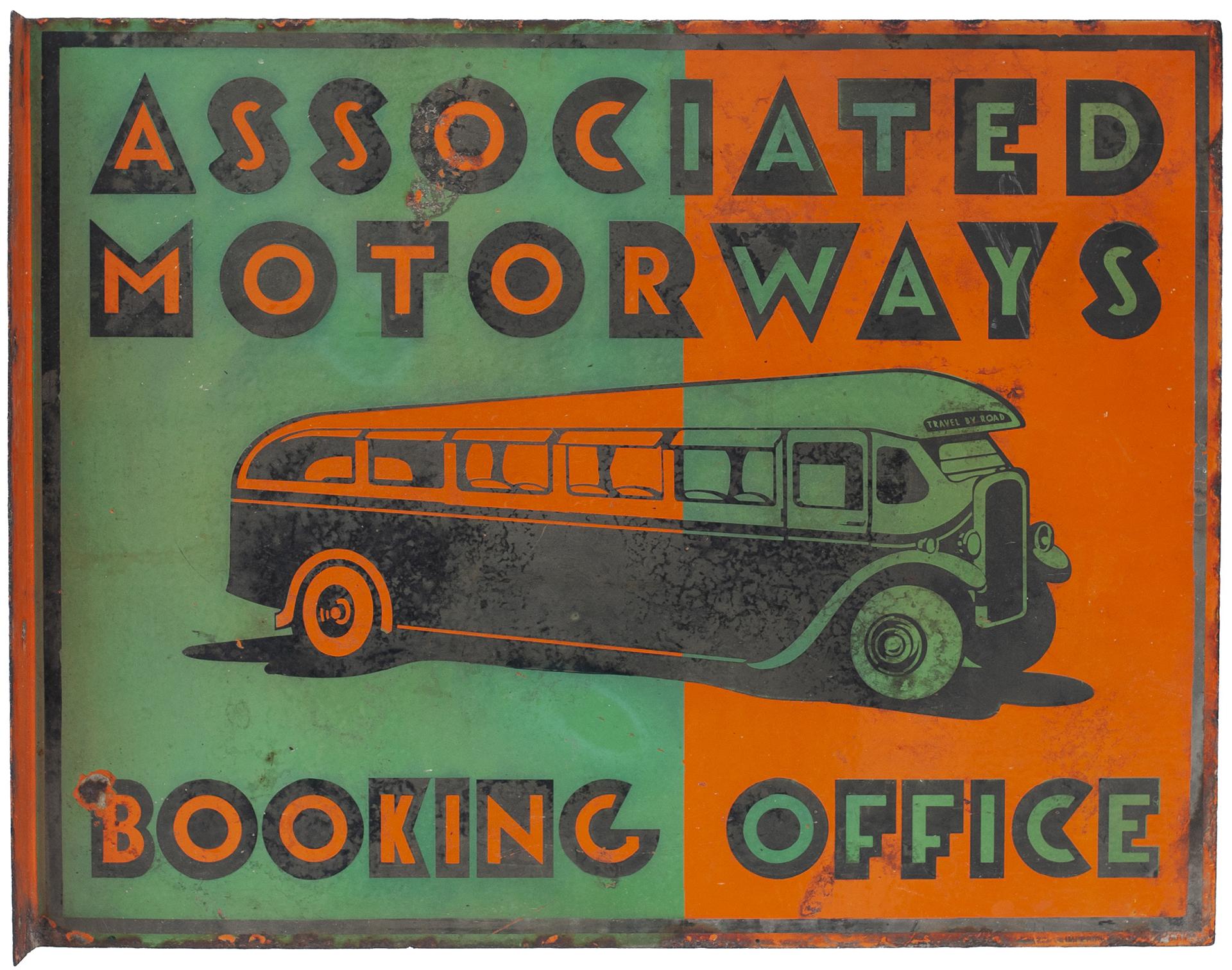 Bus Motoring Enamel Sign ASSOCIATED MOTORWAYS