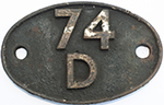Shedplate 74d Tonbridge 1950-1958. In As Removed - select image 1