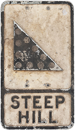 Road Sign STEEP HILL. Cast Aluminium With Glass - select image 1